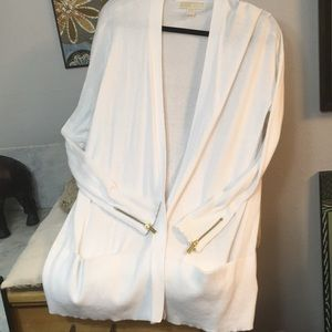 Michael Kors Ivory Cardigan Gold Sig Accents New!